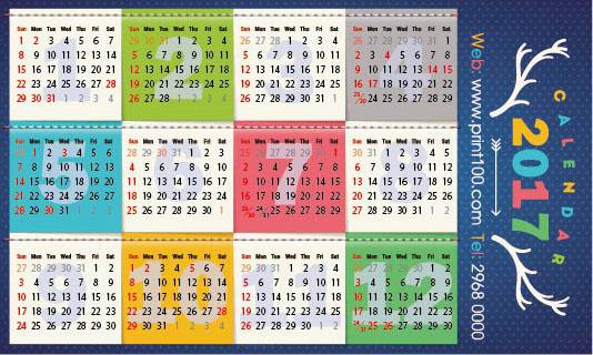 Hong Kong Calendar 2017
